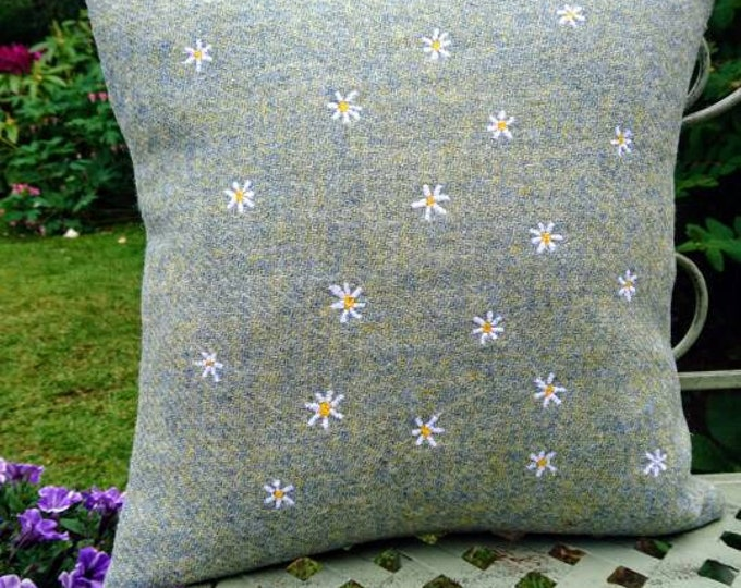 Hand Crafted Harris Tweed summer daisies cushion cover
