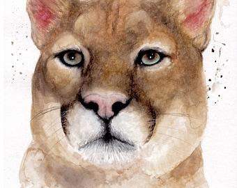 Watercolour mountain lion, original art, wall art, animal painting