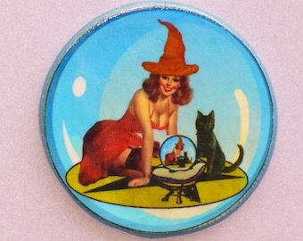 Vintage CRYSTAL BALL Witch Cat Talisman Amulet Pagan Halloween