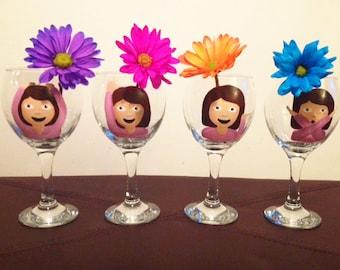 Emoji girl wine glass set of 4