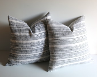 Hmong pillow cover / Hemp pillow / Farmhouse Pillow / Vintage pillow / Indigo Striped cushion / Rustic pillow cover
