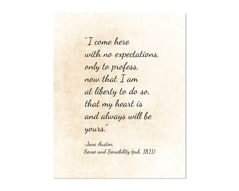 Quotes Jane Austen Jane Austen Art Print Sense & Sensibility Quote Jane Austen