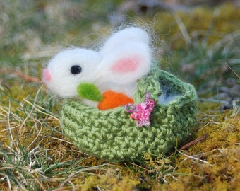 Needle Felted Bunny With Basket With Carrots Handmade Easter Bunny