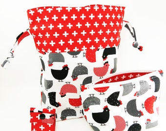 """Knitting Project Bag - New! """"Black and Red and Gray Chickens"""" 2 Piece Set (V)"""