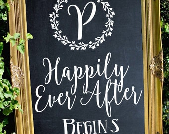 Happily Ever After Wedding Sign Decal // Stencil Decal // Wedding Decor // Wedding Established // Rustic Wedding Decor / Rustic Wedding Sign