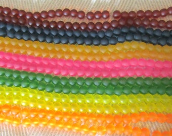 Choice of Color 10mm Frosted Glass Round Bead Strand