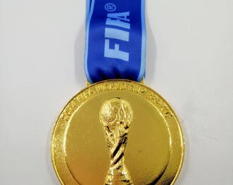 2014  Brazil Soccer World Cup 'Gold' Medal with Silk Ribbon