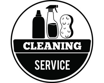 Cleaning Logo #17 Maid Service Housekeeper Housekeeping Clean Vacuum Mop Floor .SVG .EPS .PNG Digital Clipart Vector Cricut Cutting Download