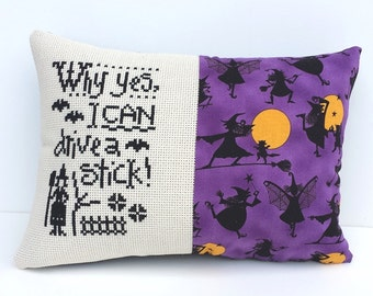Completed cross stitch pillow, Halloween decor, witch decoration, drive a stick stitched pillow