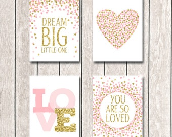 Set of Prints 5x7 Nursery Prints Dream Big Little One Print You Are So Loved Print Pink Gold Nursery Decor First Birthday Decor Pink Gold