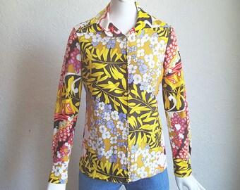 Vintage 70s Jack Hartley Pop Art Mod Floral Jersey Knit Shirt M