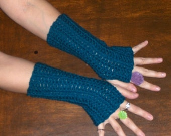 The Harbor Sky Teal Fingerless Gloves Crochet Arm Warmers. Handmade Victorian Bohochic  Unisex Wristers Hand Warmers Rustic gypsy gloves