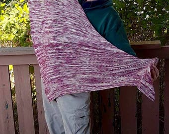 Rose coloured Hand knitted Lace shawl, beautiful fine lace stitches, 5 feet long and 2 feet 6 inch wide, asymmetrical, hand dyed yarn