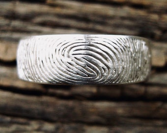 Finger Print Wedding Band in Sterling Silver with Text Engraving and Matte Finish Size 10