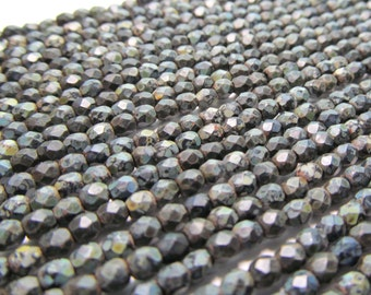 Tiny Matte Black Firepolished Czech Glass Beads with Full Picasso Finish, 3mm - 100 pieces