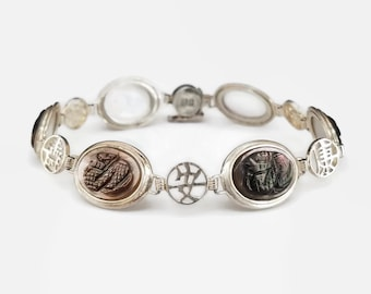Sterling Silver Chinese Symbol Mother of Pearl Bracelet - Chinese Dragon, Carved Stones, Made in Hong Kong, Womens Bracelet, Pearly Girl