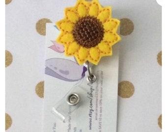 Sunflower reel badge-sunflower reel-Rn reel- flower reel badge-cna reel badge - nurse reel- sunflower gift- sunflower badge- sunflower reel