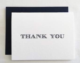 Letterpress Thank You Cards with navy envelopes, Set of 6 | letterpress thank you notes, letterpress set, letterpress cards