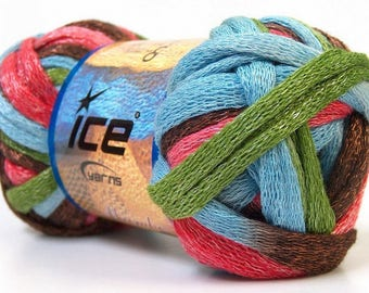 ball of yarn for ruffled scarf Mambo (green, dark pink, blue and Brown)