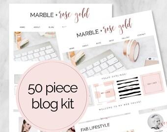 50 pièce Web / Blog Kit / Branding Kit / Kit Blogger / boutons sociaux / onglets de la page d'accueil / Rose or / marbre / Blog Design Kit / Blog graphique