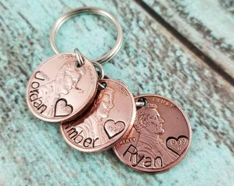 Lucky us keychain, penny keychain, birthday keychain, mother's day keychain, father's day keychain, gift for her, gift for him, pennies