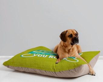 Fun Dog Bed Pillow // Whimsical Design // Green // Pet Bedding // Animal Pillow // Modern Pet Bedding // You Rock Design // Pet Mat // Music