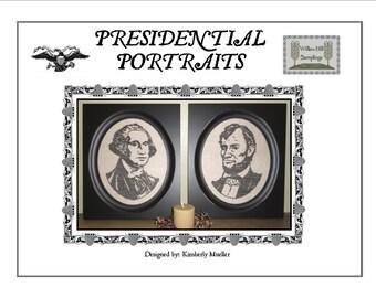 Cross stitch pattern Presidential Portraits - George Washington and Abraham Lincoln Hard Copy