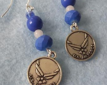 Earrings: blue and white with Air Force charms  FREE SHIPPING!