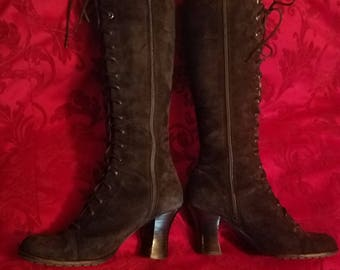 Black Suede Leather Knee High Lace Up Boots Size 6, Gothic Witchy
