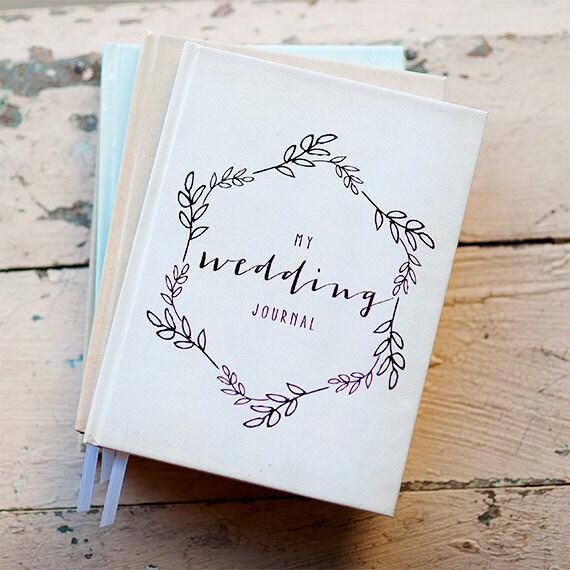 Wedding Journal Notebook Wedding Planner Personalized Customized bridal shower guest book custom design calligraphy keepsake gift for bride