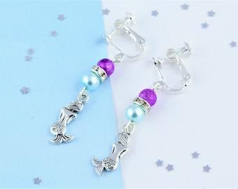 Mermaid Clip On Earrings, Mermaid Jewellery, Mermaid Earrings, Earring Clips, Kids Mermaid Gifts, Clip Ons, Non Pierced Earrings, Beach Gift