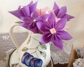 Rose Quartz Large Vellum Paper Flowers Paired with Purple
