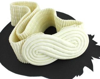 Cream Infinity Satin Buckle on Elastic Vintage Belt