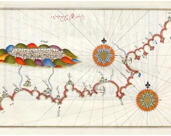 Piri Reis, Kingdom of Granada; (plus Malaga & Ameria); Kitab-i Bahriye, 16th Cen