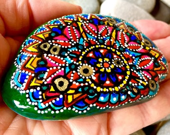Through the looking glass/ painted rocks/ painted stones/ rock art/ boho art / hippie art / mandalas / mandalas on rocks / mandala art rocks
