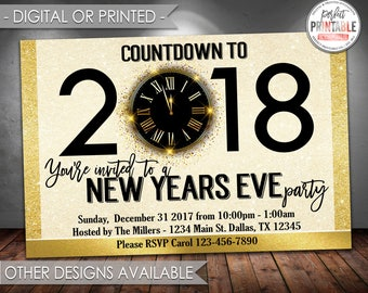 New Years Invitation, New Years Eve Party Invitation, New Years Invite, New Year Invitation, Black and Gold, Digital or Printed #727