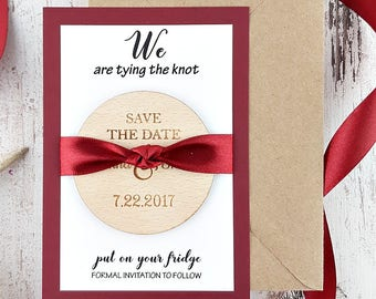 Tying The Knot Save The Date Magnet, Wooden Save The Date, Rustic Save The Date, Wood Magnet, Wedding Invitation, Wedding Favors for Guests