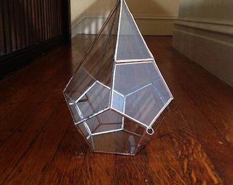 Teardrop Terrarium , large glass terrarium with a hinged door -- stained glass -- copper or silver color -- eco friendly
