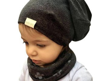 organic baby slouch beanie (made to order) bamboo. organic cotton. grey. charcoal. hat. kids beanie