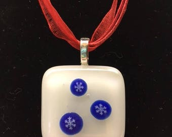 Fused glass snowflake pendant