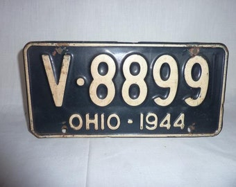 Vintage 1944 Ohio License Plate WWII
