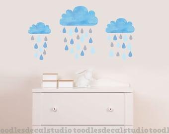 Blue cloud wall decal, raindrops, rain drops, reusable fabric wall decal sticker