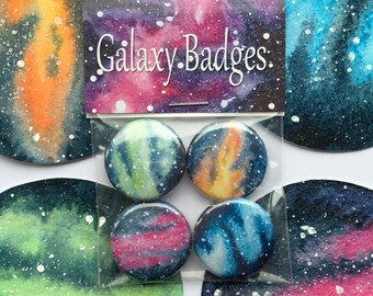 Galaxy Watercolour Badge 4 Pack