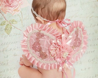 Baby Headband and Wings in dusty rose, Fairy Wings, Pink Fairy Wings, Vintage Lace Wings, Photo Prop,Angel Wings,Newborn Baby Girl Gift Set