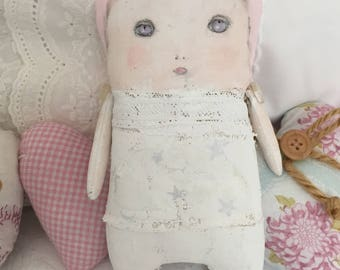 Darling Art Doll - Painted Ragdoll - Gift for Her - Gift for Girls - Nursery Decor Girls - Baby Shower Gift - SKU11