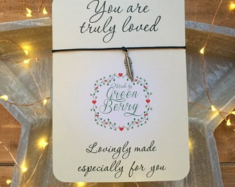 "Feather String Bracelet on ""you are truly loved"" quote card madebygreenberry wish bracelet"