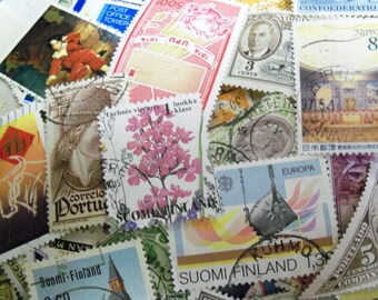 60 World Wide Stamps, Postage Stamps, Vintage Stamps, Used Stamps