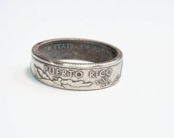 Puerto Rico - US Territory - Money Jewelry - Coin Ring - Coin Jewelry - Quarter Ring - Gift - State - Wedding Ring - Husband - Wife