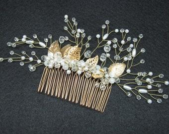 Gold bridal comb Crystal wedding comb Bridal hair combs Gold clip bridal Crystal hair clip Bridal comb crystal Bridal barrette Gold leaf