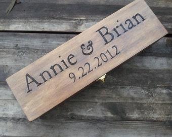Wedding Wine Box, Engraved wine box, wooden wine box, Memory Box, wine gift box, Anniversary gift, wedding gift, wine box ceremony